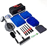 HLWDFLZ Car Cleaning Kit, Car Wash Tool Kit for Exterior and Interior Cleaning, Car Accessories - Microfiber Wash Mitts, Tire Brush, Car Detailing Brushes, Car Care Kit Black Bag(27 Pcs)