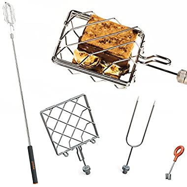 Grubstick Intro 4 Piece Kit- Your Last Roasting Stick | Premium Campfire 37  Telescoping/Extendable Reusable Skewer Kit | For Marshmallows, Hot Dogs, Smores, and More - Dishwasher Safe