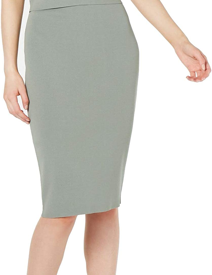 Bar III Womens Ribbed Stretch Pencil Skirt Green M