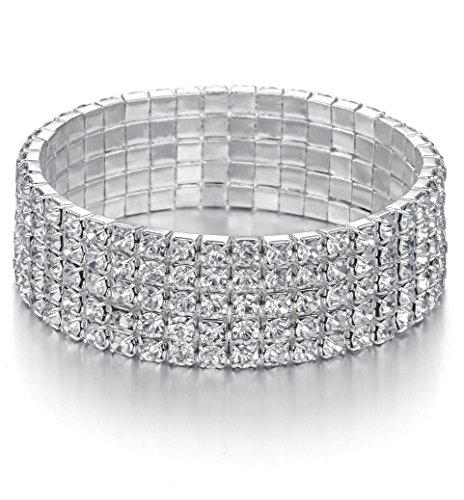 Yumei Jewelry 5 Strand Rhinestone Stretch Bracelet Silver-tone Sparkling Bridal Tennis Bangle