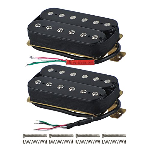FLEOR High Output Alnico 5 Guitar Pickup Double Coil Humbucker Pickups Neck and Bridge Set Black