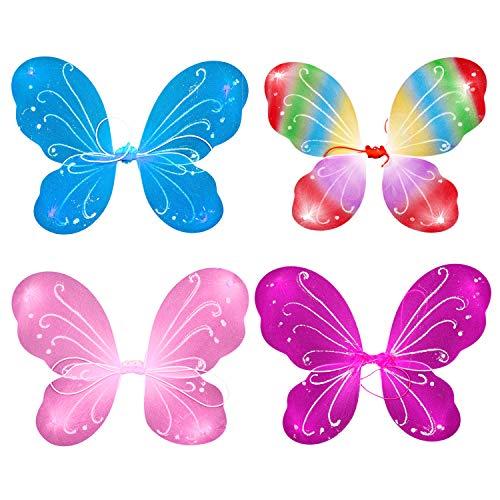 YASSON Schmetterlingsflügel für Mädchen Feenflügel Kinder Fee Kostüm Prinzessin Verkleidung Flügel Set Halloween Geburtstag Party Geschenk