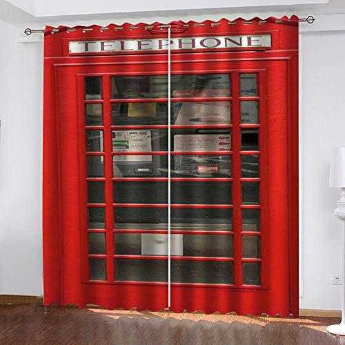 MXYHDZ Cortinas Dormitorio Opacas - Estampado de Cabina telefónica roja Impresión 3D, Decoracion de Ventanas Salon Termicas Aisantes Frio y Calor - 280 x 245 cm para Oficina, Dormitorio habitación de