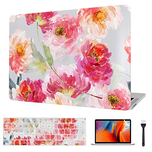VAESIDA for MacBook Pro 13 Inch Case 2016-2019, Floral Laptop Cover & Keyboard Cover & Screen Protector Only for 2016-2019 Mac Pro 13 (Model A2159/A1706/A1708/A1989), Watercolor Flower