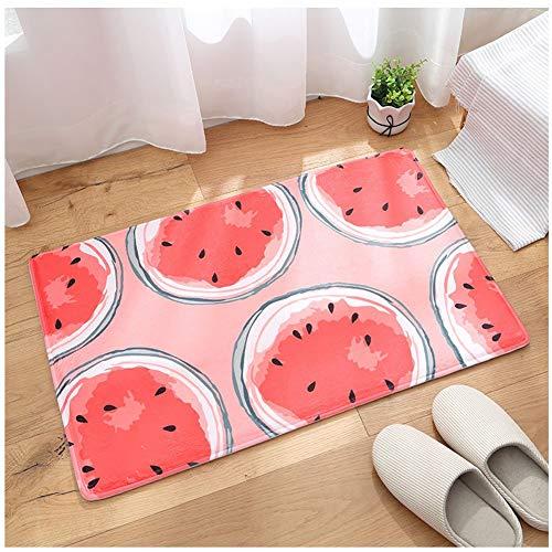 Eastery Flanell Wassermelone Fußmatten Fussmatte Für Flur Bad Innen Und Außen Einfacher Stil Bereich Schmutzfang Matte Rutschfester Waschbarer Fuß Abtreter Türvorleger Praktischer Sauberlaufmatte