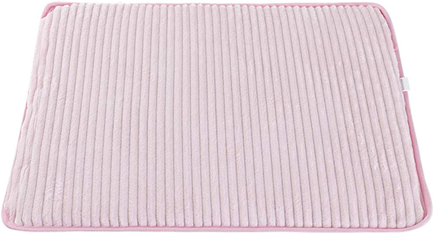 Pet Cotton Pad DoubleSided Solid color Corduroy Four Seasons Universal Cat Dog Cotton Pad Comfortable Breathable Easy to Wash,Pink,S