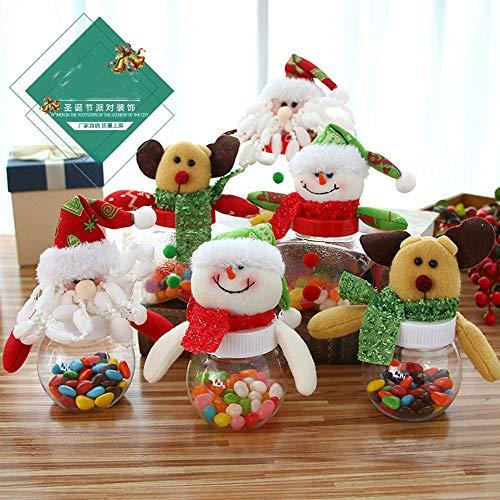 ysister Tarro de Dulces navideños de 3 Piezas, latas de azúcar navideñas Caja de Regalo Transparente de...