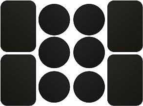 AJOXEL [10 Piezas láminas Metálicas (6 Redondas y 4 rectangulares) con Adhesivos Muy Finas Reemplazo de Placas de Metal para Soporte Movil Coche Magnético/Soporte iman movil Coche - Negro