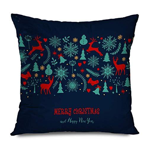 Suo Long Funda de cojín Azul En Blanco Navidad Felicitación Vacaciones de Invierno Patrón Rojo Reno Árbol Color Hermosa Campana Funda de Almohada