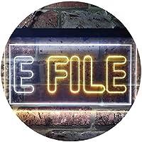 E File Tax Illuminated Dual Color LED看板 ネオンプレート サイン 標識 白色 + 黄色 300 x 210mm st6s32-i0273-wy