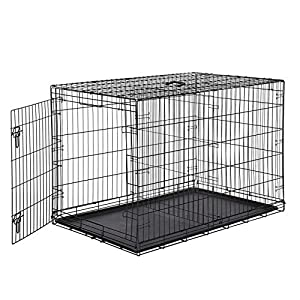 AmazonBasics - Jaula plegable de metal para mascota (una puerta, 122 cm largo)