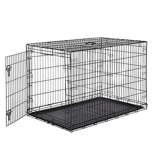 AmazonBasics Single-Door & Double-Door Folding Metal Dog or Pet Crate Kennel with Tray, 48 x 30 x 32.5 Inches