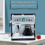 Aliturtle Dollhouse Miniature Modern Mini Coffee Machine Set Scene Model with Coffee Pot and 2 Mug, 1:12 Scale Mini Size Emulation Doll House Furniture and Accessories for DIY Pretend Play Doll Décor