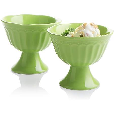 Green Glass Dessert Cup Flared Bowl Long Pedestal Diamond Design Ice Cream Sherbert Fruit Cup