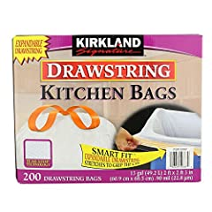 """Drawstring Kitchen Bags One-by-One dispensing 24"""" x 27"""" 13 gal 200 Count per pack"""