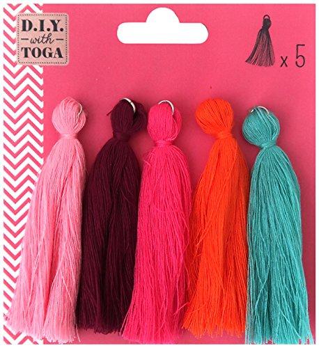 D.I.Y with Toga MBJ027, Lot de 5 Maxi Pompons, Coton, Multicolore, 0.5 x 8 x 0.5 cm