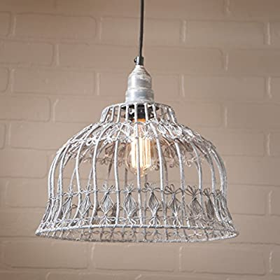 Flower Industrial Wire Cage Pendant in Weathered Zinc