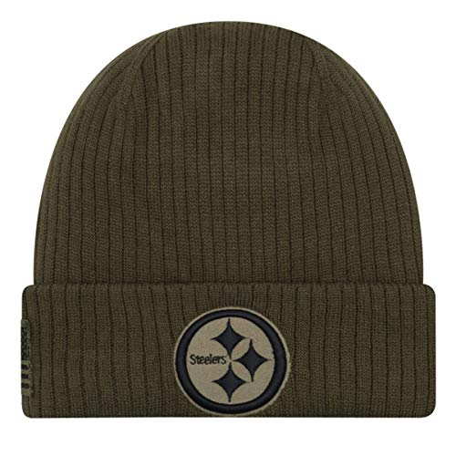 New Era Pittsburgh Steelers Beanie - On Field 2018 Salute to Service Knit - Green - One-Size