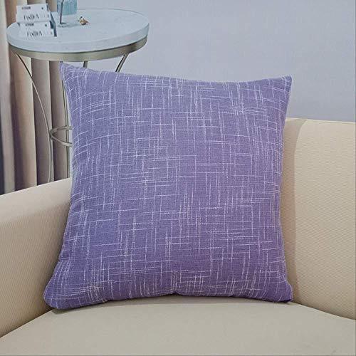 Cojín para sofá Home Office para el respaldo del coche, de lino puro, de 60 x 60 cm, color morado