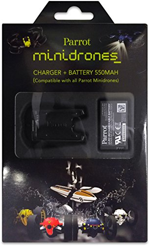 Parrot External Battery Charger with USB Cable and 550mAh Lithium Polymer Battery for Parrot MiniDrones Rolling Spider and Jumping Sumo