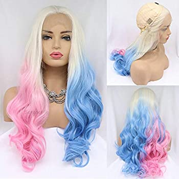 24  Cosplay Drag Queen Wigs Harley Quinn Hairstyle 60 White Blonde Ombre Half Baby Pink/Half Sapphire Blue Synthetic Lace Front Wigs for Women Blonde Ombre Pastel Pink Blue Wig