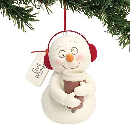 """Department 56 Snowpinions """"Get Wired"""" Porcelain Snowman Christmas, 3"""" Hanging Ornament, 3', Multicolor"""