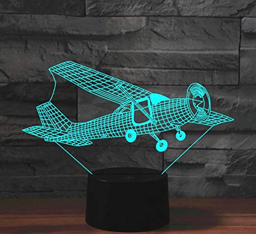 Plane Bomber Acrylic 7Colors Desk Lamp 3D Lamp Novelty Led Night Light ColdWhite