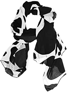 Womens Infinity Lightweight Silk Scarf COW PRINT JUNE Pattern Prints Long Silk Scarves