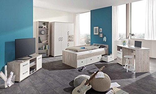 lifestyle4living Jugendzimmer Komplett Set, Weiß und Sand-Eiche, 5-teilig, Kinderzimmer Komplettset mit Kleiderschrank und Bett