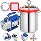 Bestauto Vacuum Pump 3 CFM Vacuum Chamber 3 Gallon Single Stage Vacuum Pump with Chamber Stainless Steel Degassing Chamber Kit