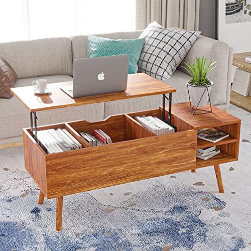 Mesa de centro elevable, mesa de centro elevable, mesa de madera elevable, gran compartimento oculto, mesa elevable para salón (nogal)