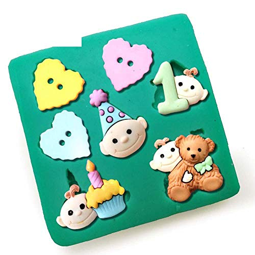 DACCU Hot Magic Bear hartje, siliconen vormen voor het decoreren van taarten fondant, chocolade, zeepvorm, taartgereedschap bakken F0522XC35