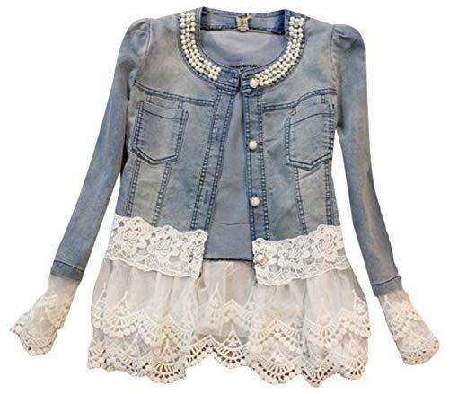 MU2M - Giacca in jeans da donna, con bottoni in pizzo Aspic XS