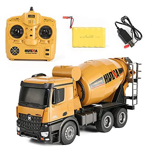 XIAOKUKU Camión Control Remoto de Metal, camión hormigonera 1/18 Control Remoto de 2.4G con luz y Efecto de Sonido Camión de construcción RC de 10 Canales Juguete Educativo niños Adultos, Regalo,A