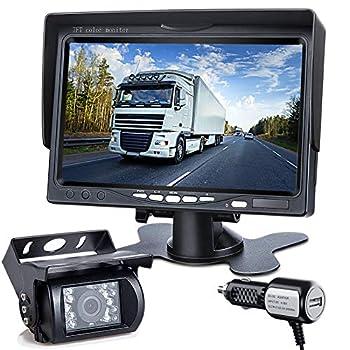 DVKNM Upgrade Backup Camera Monitor Kit,7-inch LCD 1280X720P HD,IP69 Waterproof Rearview Reversing Rear View Camera Reversing Monitor Truck/Semi-Trailer/Box Truck/RV — HD Transmission —  TZ101  white