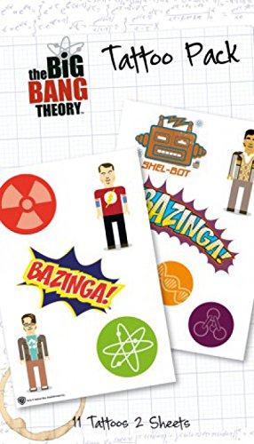 1art1 The Big Bang Theory Paquet De Tatouages - Bazinga, 11 Tatouages (17 x 10 cm)