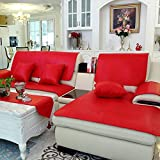 H.L LH Funda de sofá de Cuero sintético, Fundas seccionales Fundas de sofá Impermeables for Mascotas Protector de Muebles Antideslizante (Color : Red, Size : 90x150cm)