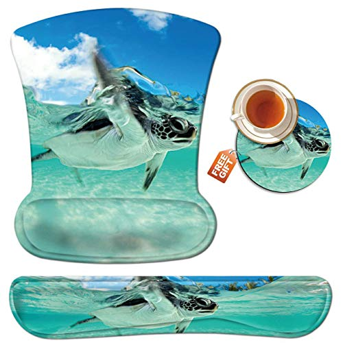 SKYFREE Mouse Pad Wrist Rest Support Set Keyboard Wrist Rest Pad Cute Sea Turtle Ergonomic Mousepad Memory Foam Comfortable Keyboard Pad Come with A Coffee Cup