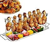 Hähnchenschenkel Halter für Backofen & Grill, Hähnchenbräter aus Edelstahl, Hähnchenhalter, Hähnchen Grill Ständer & BBQ Rack with BBQ-Pinsel (ohne Tablett, rostfreier Stahl)