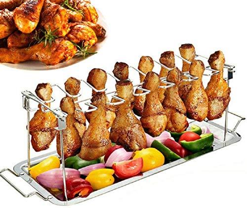 Hähnchenschenkel Halter für Backofen & Grill, Hähnchenbräter aus Edelstahl, Hähnchenhalter, Hähnchen Grill Ständer & BBQ Rack with BBQ-Pinsel (einschließlich Tablett, rostfreier Stahl)