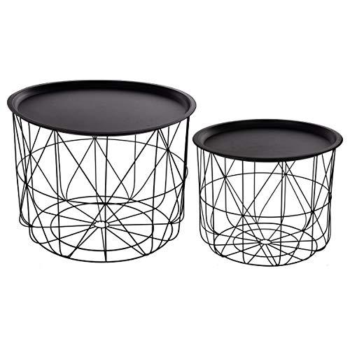 Atmosphera Lot de 2 Tables à café gigognes Plateaux Amovibles - Design Modernes - Coloris Noir