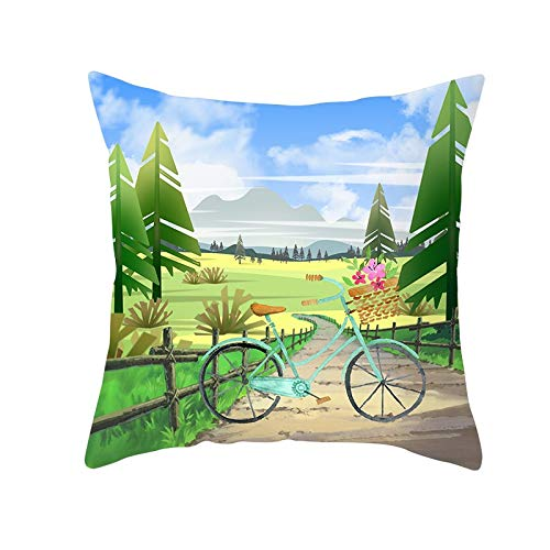 Funda de Cojín Decorativos Funda de Almohada Paisaje de flores de bicicleta Cuadrado Terciopelo Suave Cojines Decor con Cremallera Invisible para Sofá Decor Funda de Cojín M256 Pillowcase,55x55cm