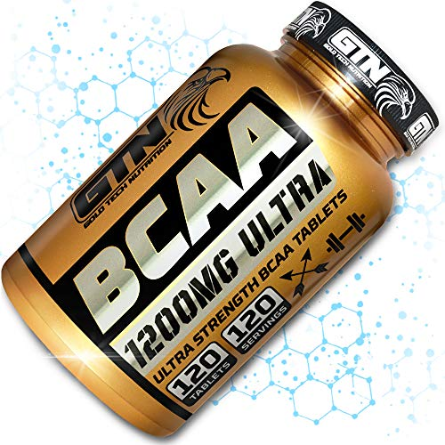 BCAA Tablets, 1200mg Branched Chain Amino Acids by Gold Tech Nutrition - BCAA+ with Added Vitamin B6 to Aid Absorption - UK Produced and GMP Certified - Suitable for Men and Women – 120 Tablets
