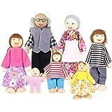 Toyvian Muñecas de madera Figura familiar Juguete Familia fingen el Juego para niños Niños -7pcs
