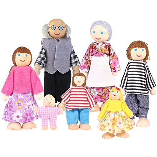 Toyvian Muñecas de madera Figura familiar Juguete Familia fingen el Juego para...
