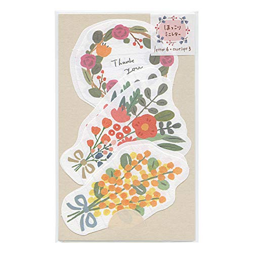 ほっこりミニレターセット【花】かわいい なごみ ダイカット LT456