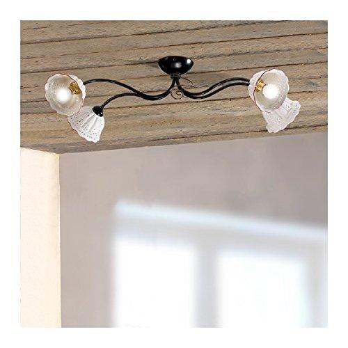 Plafonnier plafonnier 4 lumières avec abat-jour, de la céramique, plissé, et perforé pays vintage - Ø 80 cm - Bianco (nessun decoro)