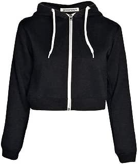 Janisramone New Womens Hooded Zip Up Crop Hoodie Plain Fleece Jacket Sweatshirt Jumper Top