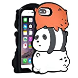 TopSZ 3 Bears Case for iPhone 8 Plus/ 7 Plus/6 Plus 5.5',Silicone 3D Cartoon Hero Animal Cover,Kids Girls Teens Boys Man Animated Cool Fun Cute Kawaii Soft Rubber Character Cases for iPhone 6 Plus