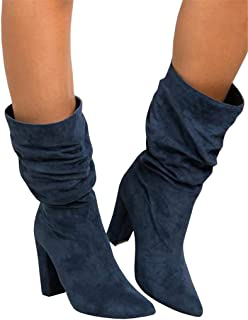 Womens Winter Slouchy High Heel Boots Mid Calf Suede Slip on Chunky Block Pointed Toe Boots